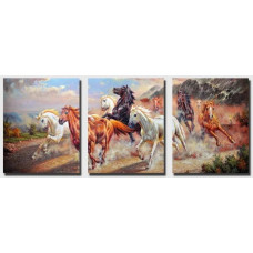 Картина по номерам Триптих. Дикие лошади