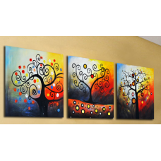 Картина по номерам Триптих. Дерево счастья